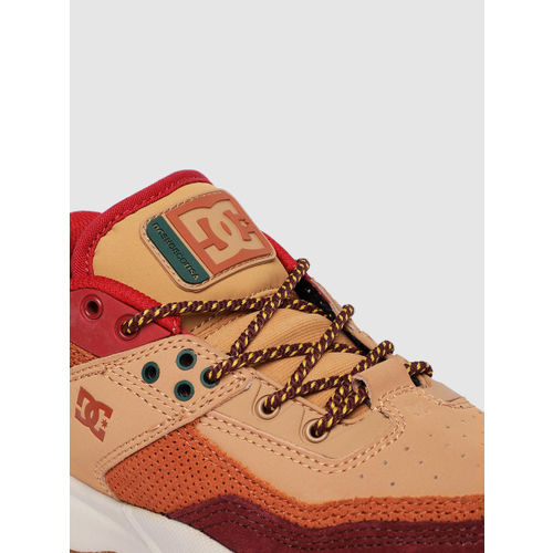 DC Men Burgundy & Brown E.TRIBEKA Leather Sneakers