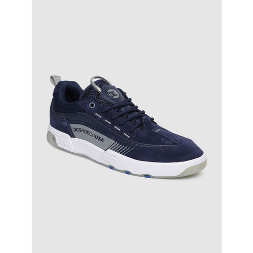 DC Men Navy Blue Leather Sneakers