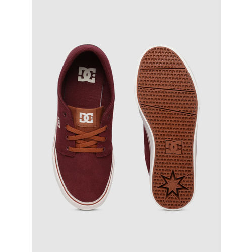 DC Men Burgundy TRASE Leather Sneakers