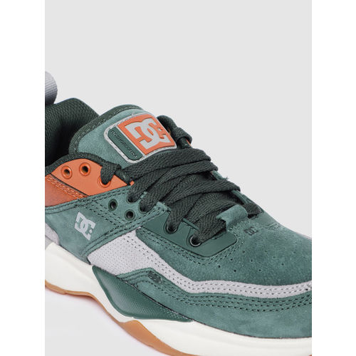 DC Men Green & Grey Colourblocked E.TRIBEKA Leather Sneakers