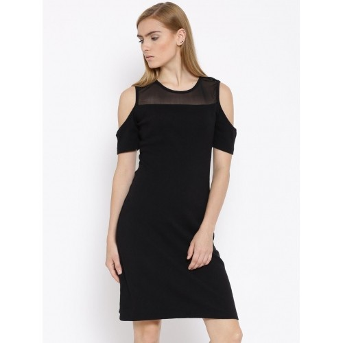 Vero Moda Black Self-Striped Cold Shoulder Sheath Dress