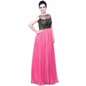 19 Likes Black & Pink Georgette Fit & Flared Gown
