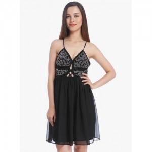 Vero Moda Black Embellished Skater Dress