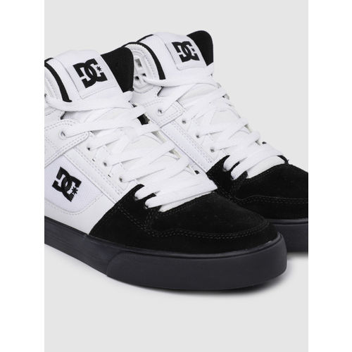 DC Men White Colourblocked Leather Mid-Top Sneakers