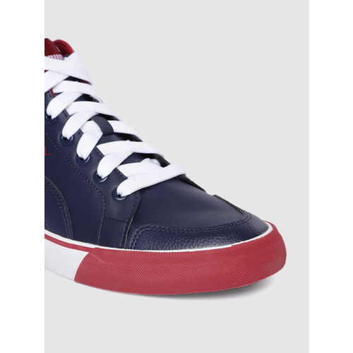 Puma Men Navy Blue & Red Colourblocked Crush IDP Mid-Top Sneakers
