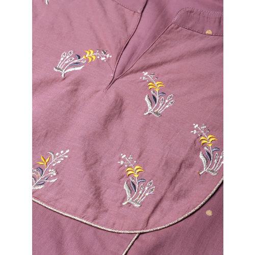 Varanga Women Purple Foil Print Straight Kurta