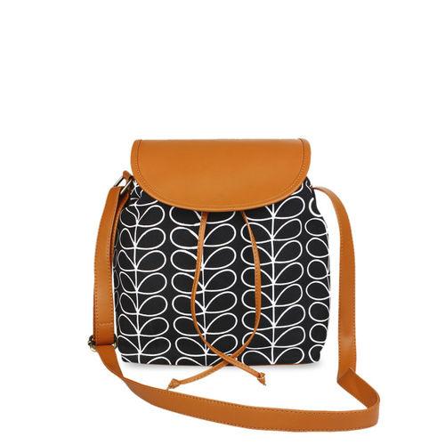 Lychee bags Black & White Printed Sling Bag