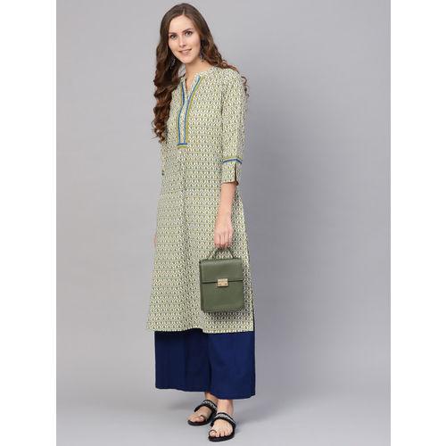 Varanga Women White & Green Printed Straight Kurta