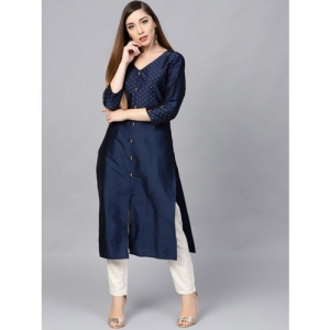 Varanga Women Navy Blue Embroidered Straight Silk Kurta
