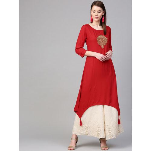 Varanga Women Red Embroidered A-Line Kurta