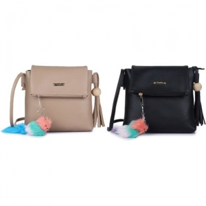 Vogue Street Black, Beige Sling Bag