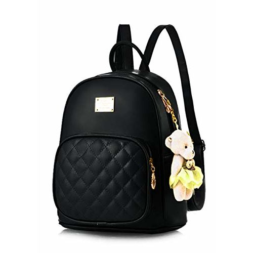 TYPIFY Black PU Leather Teddy Keychain Stylish and Trending High Quality Backpack