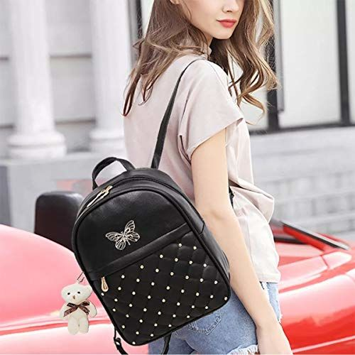TYPIFY Black PU Leather Textured Backpack