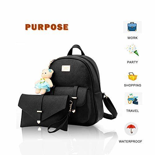 Redlicchi Girls 2-PCS Fashion Backpack Cute Mini Leather Backpack