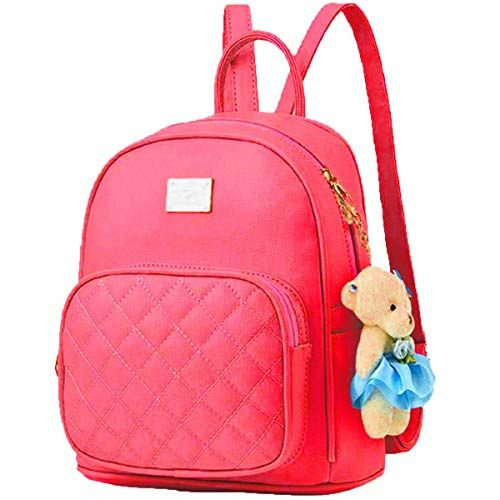 Da Eslingas Red Leatherette Teddy Keychain Stylish Backpack