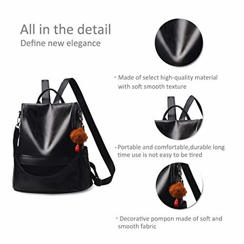 NICOLE /& DORIS New Women Backpack Travel ladies Backpack Shoulder Bag PU Leather Fashion college backpack Black