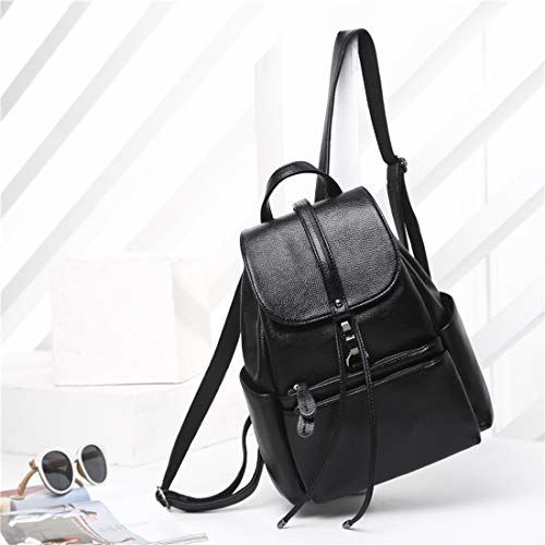 Ratfire Girl's PU School, College, Casual Bag, Backpack (Black)