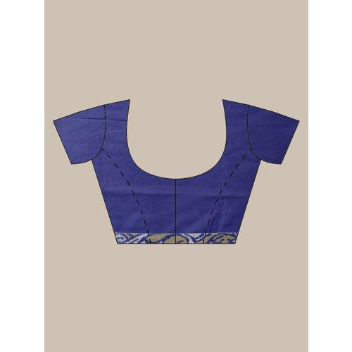 Ishin Navy Blue Printed Poly Georgette Saree