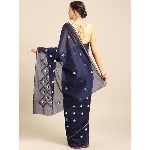 Ishin Navy Blue & Off-White Kutch Embroidered Saree
