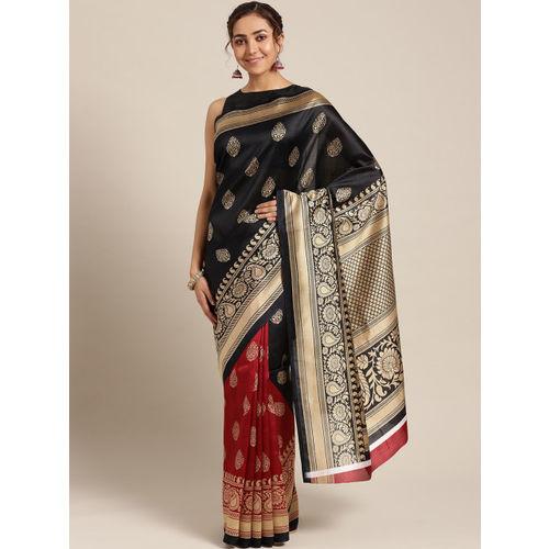 Ishin Black & Maroon Printed Half & Half Mysore Silk Saree
