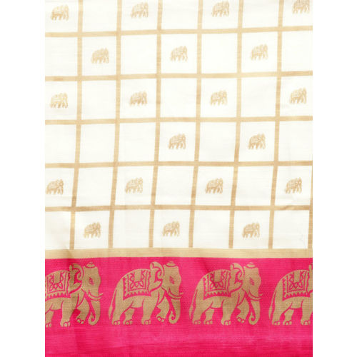 Ishin Women Off-White & Pink Checked Mysore Silk Saree