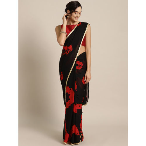 Ishin Black & Red Bandhani Print Saree
