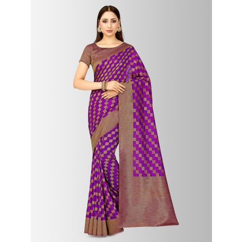 MIMOSA Purple Art Silk Checked Patola Saree