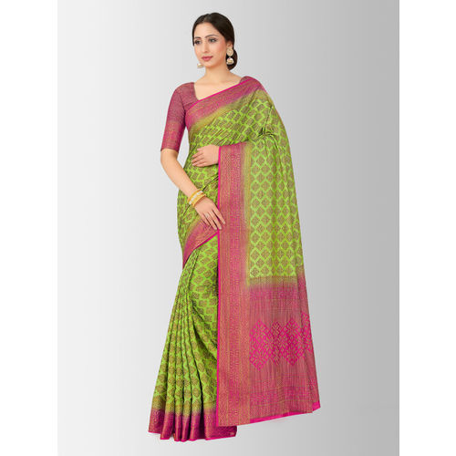 MIMOSA Green Art Silk Woven Design Patola Saree