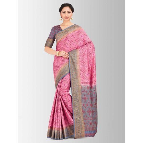 MIMOSA Pink & Gold-Toned Art Silk Woven Design Patola Saree