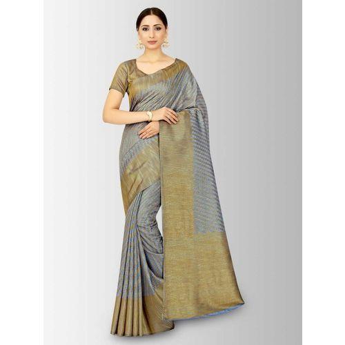 MIMOSA Blue & Gold-Coloured Art Silk Striped Patola Saree