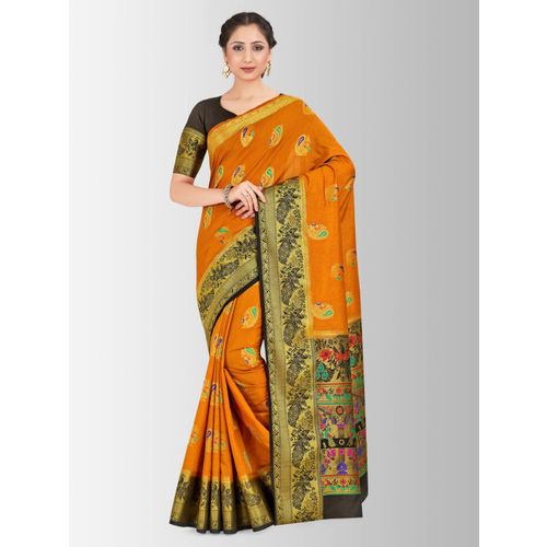 MIMOSA Orange & Black Art Silk Woven Design Paithani Saree