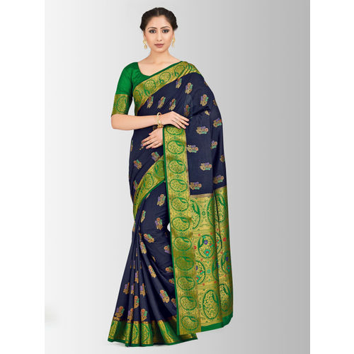 MIMOSA Navy Blue & Green Art Silk Woven Design Paithani Saree