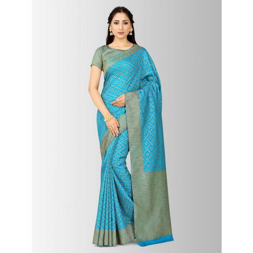 MIMOSA Turquoise Blue Art Silk Checked Patola Saree