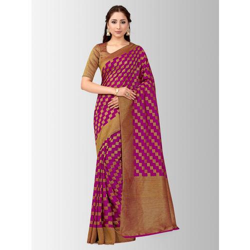MIMOSA Purple & Magenta Art Silk Checked Patola Saree