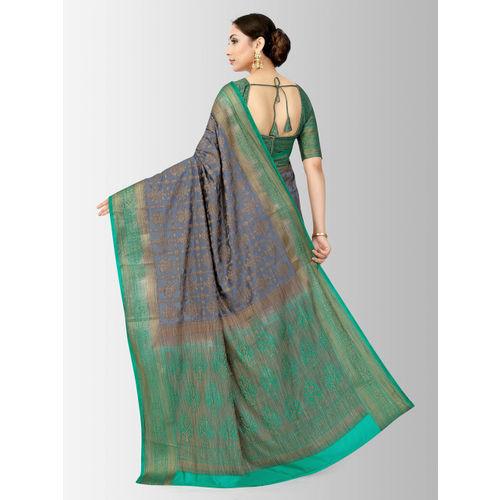 MIMOSA Grey & Beige Art Silk Woven Design Patola Saree