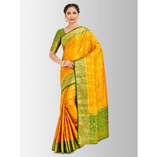 MIMOSA Mustard Yellow & Green Art Silk Woven Design Kanjeevaram Saree
