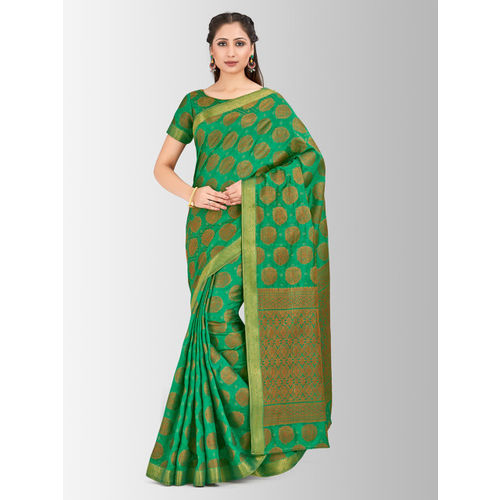 MIMOSA Green Art Silk Woven Design Kanjeevaram Saree