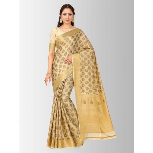 MIMOSA Beige & Gold-Toned Art Silk Woven Design Kanjeevaram Saree