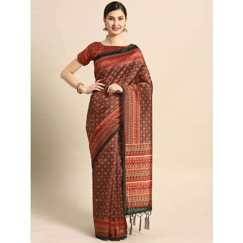 Saree mall Maroon & Burgundy Printed Patola Saree