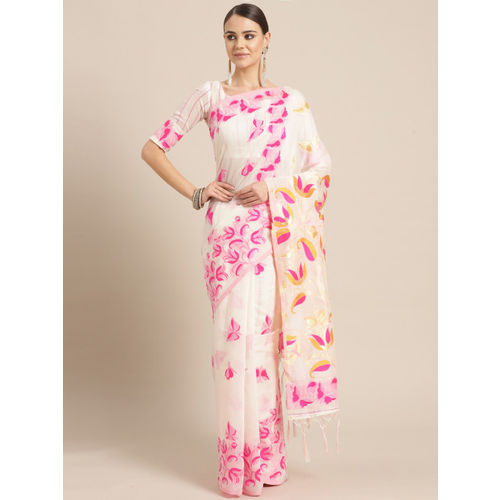 Saree mall Off-White & Pink Woven Design Saree