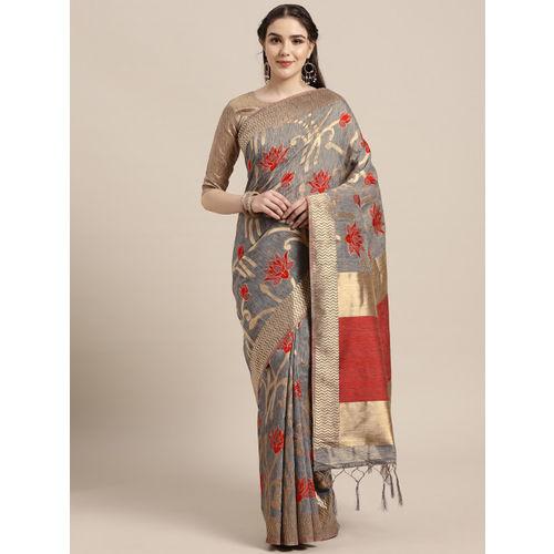 Saree mall Charcoal Grey & Red Woven Design Saree