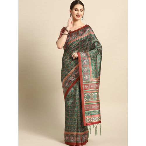 Saree mall Green & Red Printed Patola Saree
