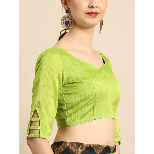 Saree mall Black & Green Solid Bhagalpuri Saree