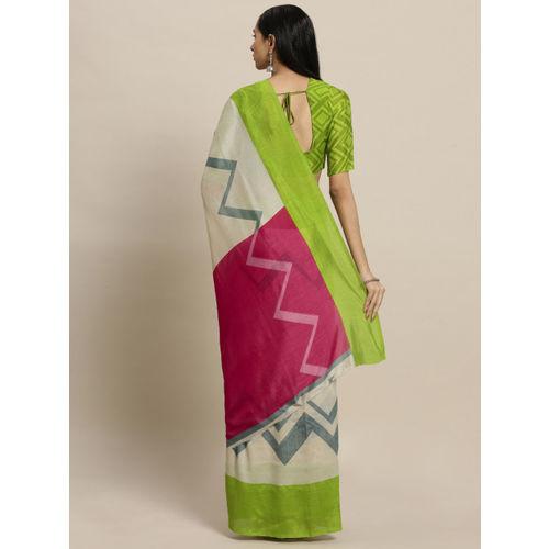 Shaily Cream-Coloured & Green Silk Cotton Printed Saree