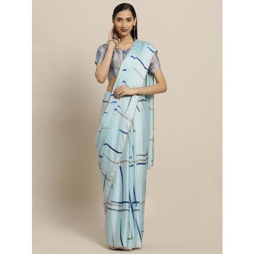 Shaily Blue Printed Satin Saree