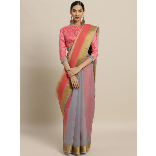 Shaily Pink & Grey Silk Cotton Colourblocked Saree