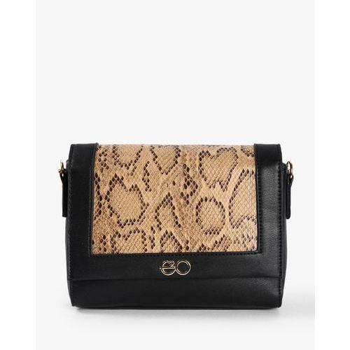 E2O Animal Print Sling Bag with Foldover Closure