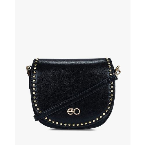 E2O Textured Sling Bag with Metal Accents