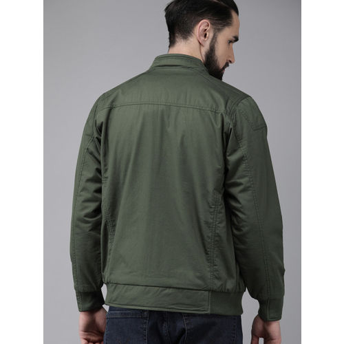 Roadster Men Olive Green Solid Reversible Bomber Jacket