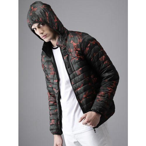 HERE&NOW Men Red & Black Printed Reversible Puffer Jacket